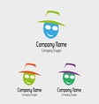 Beautiful funny face girl with hat logo vector image