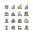 building house or home color thin line icon set vector image