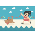 Cartoon Businesswoman happy summer vector image