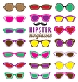 Hipsters colorful sunglasses set vector image