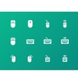 Mouse and Keyboard icons on green background vector image