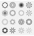 Suns Rays Icons Set - Isolated On Gray Background vector image