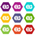 world planet and dollar coin icon set color vector image