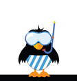 bird with blue shorts and a diving mask vector image