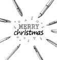 Merry Christmas frame pens vector image vector image