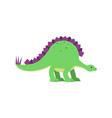 cute cartoon green stegosaurus dinosaur vector image