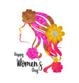girl avatar with flowers happy women day vector image