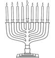 Hanukkah Lamp Hanukkiah Coloring Page vector image