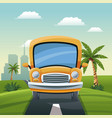 yellow bus travel vacation road landscape city vector image