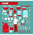Professional Cook Icons Set with Kitchen Utensils vector image