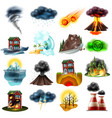 natural disasters set vector image