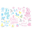 girl and boy rattle shower invitation lettering vector image