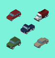 isometric car set of suv freight car and other vector image