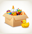 Toys in box vector image vector image