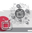 Hand drawn tv icons with icons background vector image