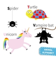 Letter S T U V Spider Turtle Unicorn Vampire bat vector image
