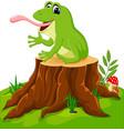 cartoon funny frog sitting on tree stump vector image