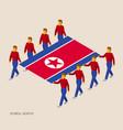 eight people hold big flag of north korea vector image