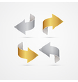 Gold and Silver Arrows Isolated on Grey background vector image