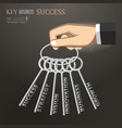 hand holding bunch of keys for success business vector image