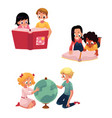 kids children reading studying learning vector image