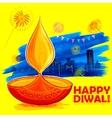Burning diya on Happy Diwali Holiday watercolor vector image vector image