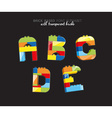 Alphabet created from playing bricks with some vector image