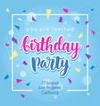 birthday party invitation banner template vector image