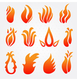 fire flame icons set vector image