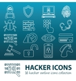 hacker outline icons vector image