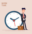 happy businessman or manager is standing near a vector image