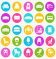 interior icon set-flat furniture icons vector image