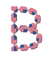 Letter B made of USA flags in form of candies vector image
