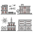line art houses collection - city objects with vector image