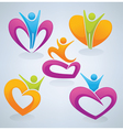 Love men and hearts vector image