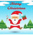 merry christmas - santa claus jumping among snow vector image