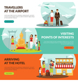 Travelers 3 Flat Horizontal Banners Set vector image