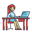 woman working on table with laptop and headset vector image
