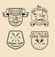 retro set of farm fresh logotypes vintage vector image