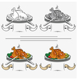 cooked chicken on the grill vector image