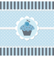 Blue baby shower with cupcake vector image