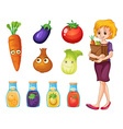 Woman with grocery bag vector image vector image
