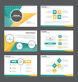 Green yellow presentation templates Infographic vector image