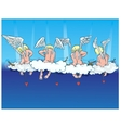 Angels sit on clouds and start up darts of love vector image