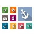 Beach and travel flat style icons set vector image