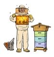 Beekeeper in protective gear holding honeycomb and vector image