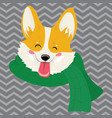 cartoon portrait of a dog in a scarf christmas vector image
