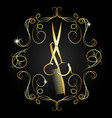 hairdressing scissors and a comb of gold color vector image