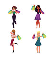 happy black and caucasian women with shopping bags vector image