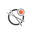 sushi roll with chopsticks icon vector image
